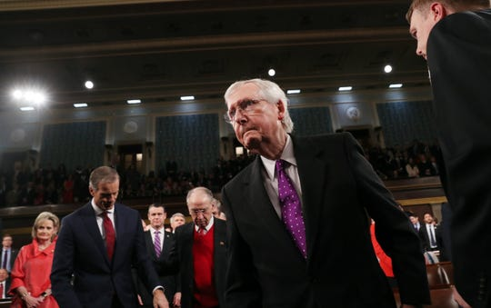 WASHINGTON, DC - FEBRUARY 04:  U.S. Senate Majority Leader Mitch McConnell arrives to hear President Donald Trump deliver the State of the Union address in the House chamber on February 4, 2020 in Washington, DC. Trump is delivering his third State of the Union address on the night before the U.S. Senate is set to vote in his impeachment trial. (Photo by Leah Millis-Pool/Getty Images) ORG XMIT: 775467571 ORIG FILE ID: 1198671062