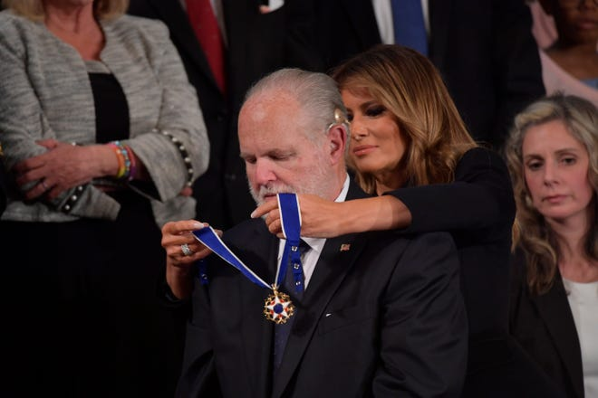 Rush Limbaugh receives the Medal of Freedom from first lady Melania Trump as President Donald Trump delivers the State of the Union address in Washington on Feb. 4.
