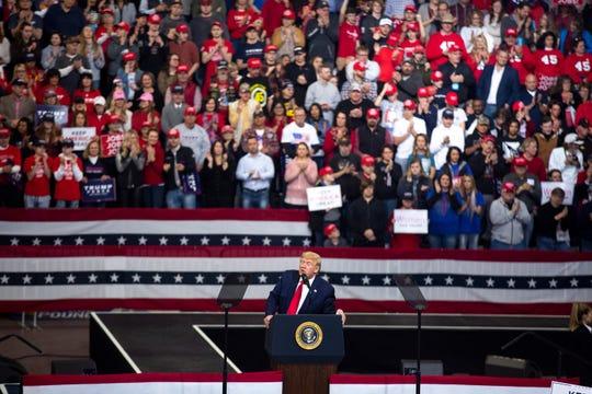 President Donald Trump rallies in Iowa on Jan. 30, 2020