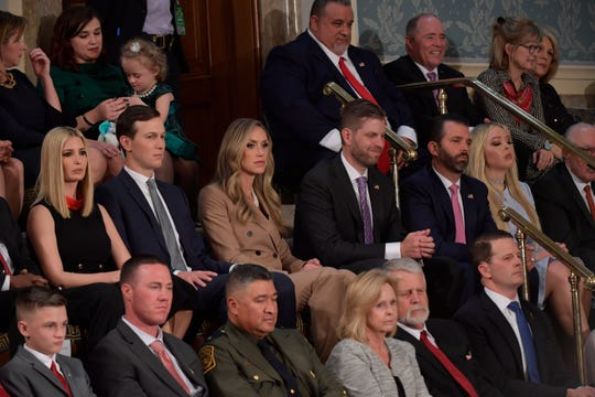 Members of the Trump family sit in the First Lady's box as President Donald J. Trump delivers the State of the Union address from the House chamber of the United States Capitol in Washington.