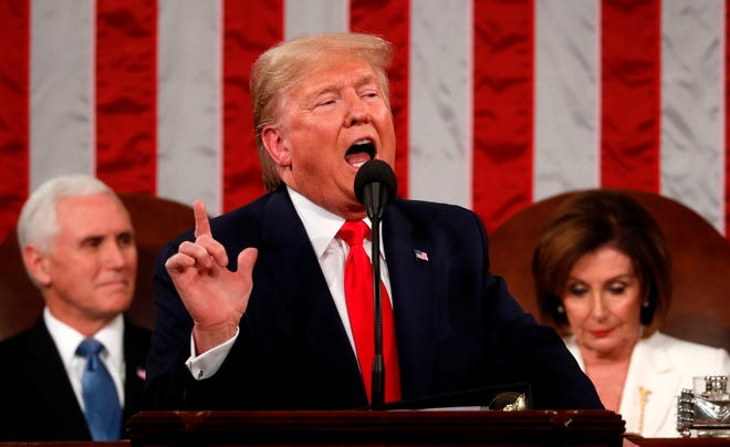 President Donald Trump delivers his State of the Union address at the U.S. Capitol on Feb. 4, 2020.