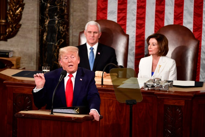 President Donald J. Trump delivers the State of the Union address from the House chamber of the United States Capitol in Washington.
