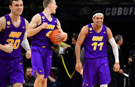 Northern Iowa Panthers guard Trae Berhow (11) celebrates defeating the Colorado Buffaloes at the CU Events Center.