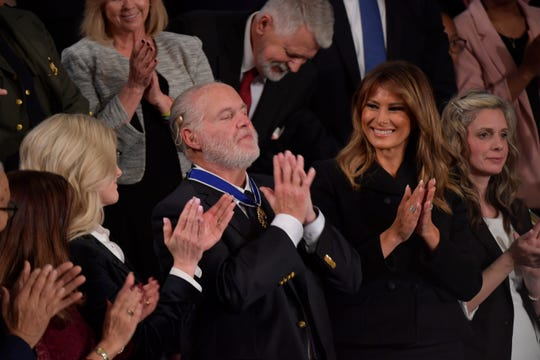 Rush Limbaugh reacts after receiving the Medal of Freedom from First Lady Melania Trump as President Donald J. Trump delivers the State of the Union address from the House chamber of the United States Capitol in Washington.