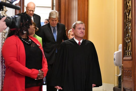 Chief Justice John Roberts leaves the Senate chamber in early February after presiding over the impeachment trial of President Donald Trump.