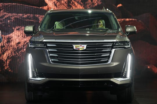 2/4/20 19:06:44 -- Los Angeles, CA  -- A first look at the 2021 Cadillac Escalade SUV at RED studios in Hollywood. The new Escalade is the first full-size SUV with Super Cruise, a hands free driving system compatible for highways. The car also features an 80% increase in cargo space behind the third row, an OLED front screen, an AKG surround sound system and much more.