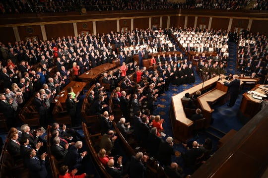 President Donald J. Trump delivers the State of the Union address from the House chamber of the United States Capitol in Washington on Feb 4, 2020.