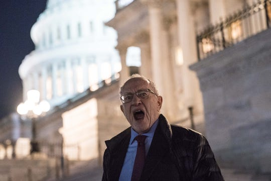 Attorney Alan Dershowitz, a member of President Donald Trump's legal team, leaves the U.S. Capitol on January 29, 2020