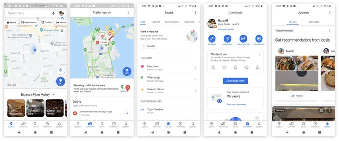 The refreshed Google Maps design features 5 tabs at the bottom of the screen.