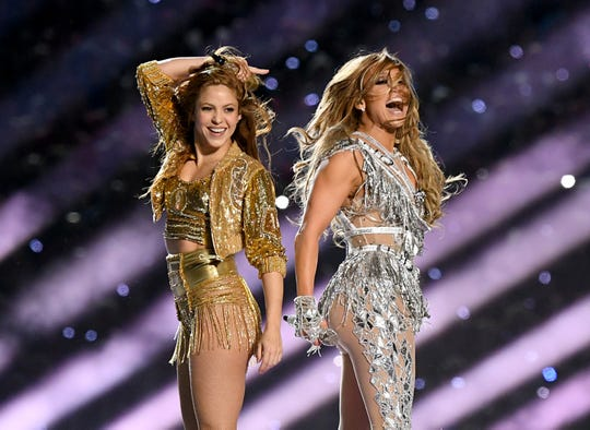 Shakira, left, and Jennifer Lopez perform during the Pepsi Super Bowl LIV Halftime Show at Hard Rock Stadium on Feb. 2 in Miami, Florida.
