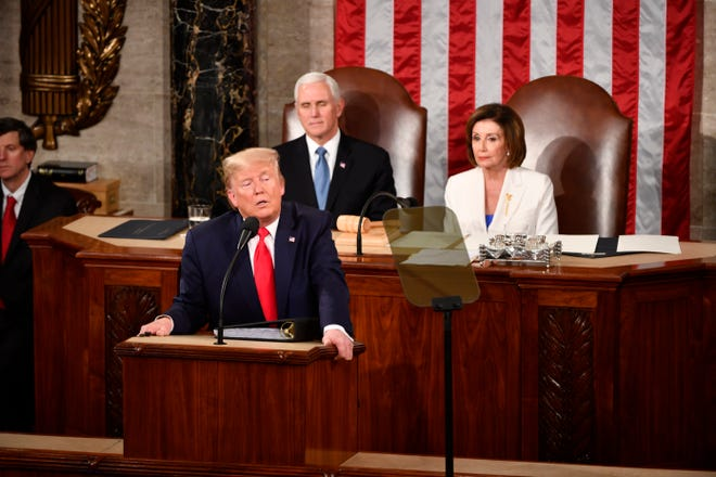 President Donald Trump delivers the State of the Union address Tuesday from the House chamber of the United States Capitol in Washington.