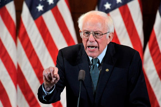 Presidential candidate and U.S. Sen. Bernie Sanders gives his response to US President Donald Trump's State of the Union speech to a room of supporters at the Currier Museum of Art Auditorium in Manchester, New Hampshire on February 4, 2020.