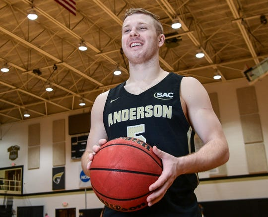 Quin Nottingham, a guard for the Anderson University men's basketball team made a buzzer-beating 75-footer, beat Carson-Newman, 75-72, February  at Holt Fieldhouse. Thursday, February 1, 2020.