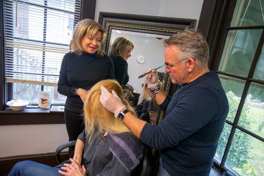 Alana Larsen, owner of Alana's Salon, a full-service salon in Fair Haven that will be closing its doors soon, talks to Richard Kernan, master stylist, and his client at the salon in Fair Haven, NJ Thursday, February 6, 2020.