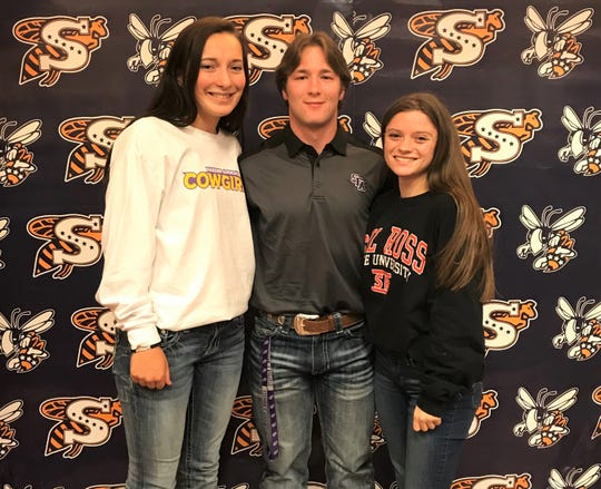 Stephenville seniors, from left, Gracie Bales, Tyeler Reed and Daisy Richards signed with college athletics programs at a ceremony Wednesday, Feb. 5, 2020, at Stephenville High School.