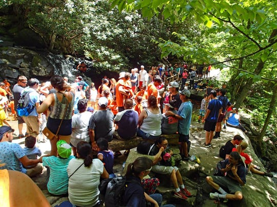 Crowds like these at Laurel Falls are typical at peak times of day and year in Great Smoky Mountains National Park, including 10 a.m.-4 p.m., weekends, holidays and the months of June, July and October.