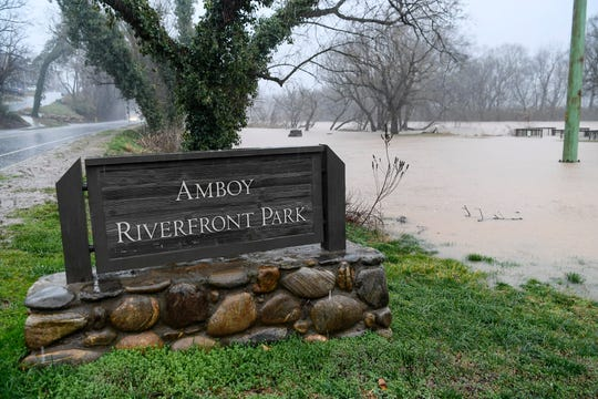 Amboy Riverfront Park was flooded by the French Broad River February 6, 2020.