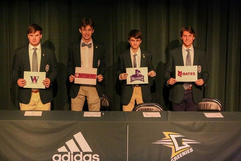 Andrew Hammel (Furman University cross country and track), Joseph Visconti (Bates College cross country and track), Miles Gardner (University of Chicago track), and Jack Sutton (Walters State baseball) signed NLI's during a ceremony at the Arden private school.