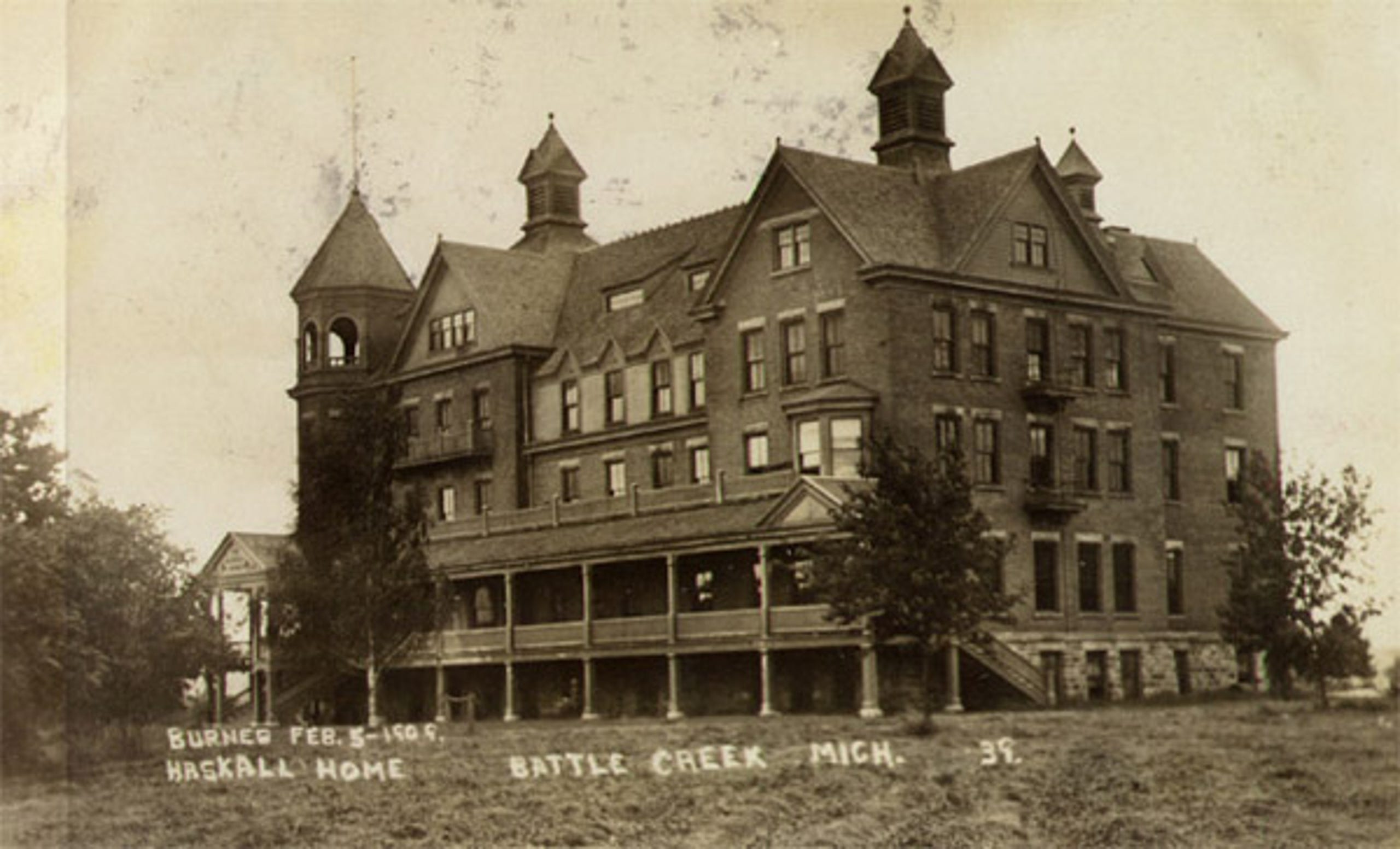 A postcard of the Haskell Home Orphanage in Battle Creek before it burned on February 5, 1909, killing three children.