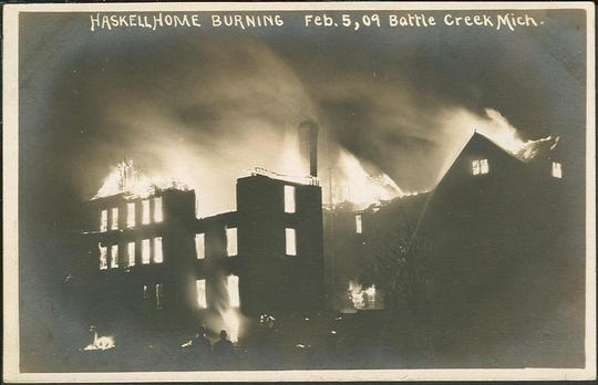 A postcard of the Haskell Home Orphanage in Battle Creek as it burned on February 5, 1909, killing three children.