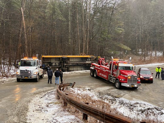 A Candor school bus slid off Brink Road in Tioga County due to icy road conditions Thursday, Feb. 6, 2020. No one was injured.