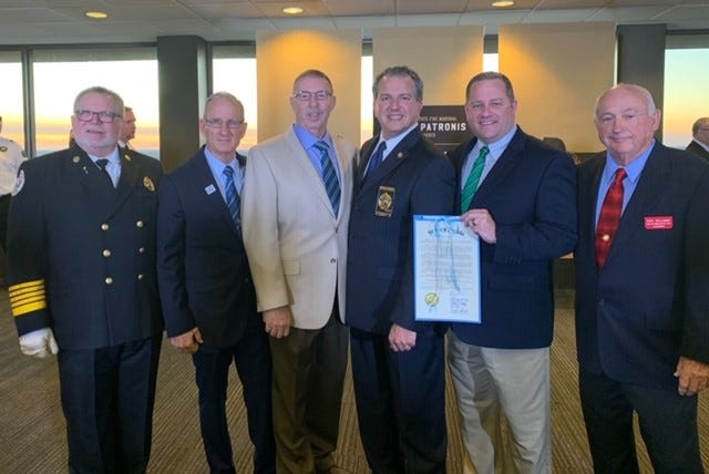 From left to right, Julius Halas, Division Director, Office of State Fire Marshal; Steve Salvo, Dean, EFSC Public Safety Institute; Bill Klein, EFSC Fire Science Program Manager; Jimmy Patronis, State of Florida Chief Financial Officer; Scott Manning, EFSC Fire Science Instructor; and Ron Williams, Chairman, Florida Fire Training Director's Association.