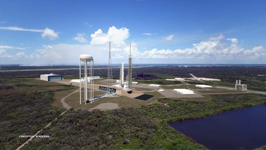 A rendering of Blue Origin's completed Launch Complex 36 at Cape Canaveral Air Force Station.