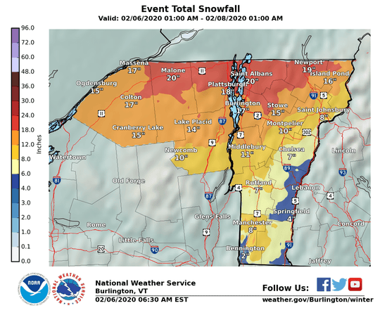 Projected snow totals for the Thursday through early Saturday winter storm.