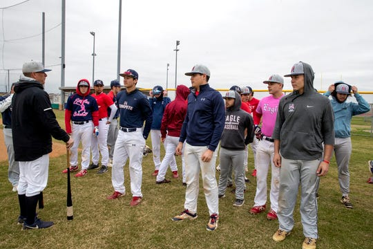 Veterans Memorial head baseball coach Lee Yeager talks with his players on Wednesday, February 5, 2020.