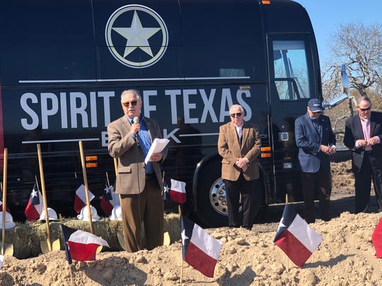 Michael L. Durham, general counsel for Spirit of Texas Bank, speaks during a ground breaking ceremony on Thursday for the company's first full-service bank in Corpus Christi.