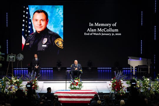 Corpus Christi Police Chief Mike Markle speaks at the funeral of fallen CCPD Officer Alan McCollum on Feb. 6, 2020.