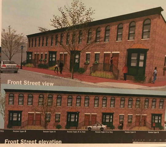 This rendering shows two-story homes planned for Front Street in Camden.