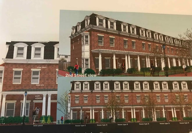 This rendering provided by DePetro Real Estate shows the 3-story houses planned along Second Street in Camden.