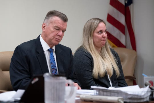 Kimberly Killion appears in court with her defense lawyer, Dennis Wixted, at the Camden County Hall of Justice Thursday, Feb. 6, 2020 in Camden, N.J.