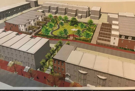 A park with public access is among the features planned for the site along Penn, Front and Second streets in Camden's Cooper Grant neighborhood, as shown in this rendering provided by DePetro Real Estate Organization LLC.