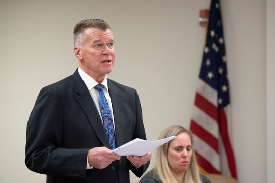 Defense attorney Dennis Wixted addresses the court as Kimberly Killion appears at the Camden County Hall of Justice Thursday, Feb. 6, 2020 in Camden, N.J.