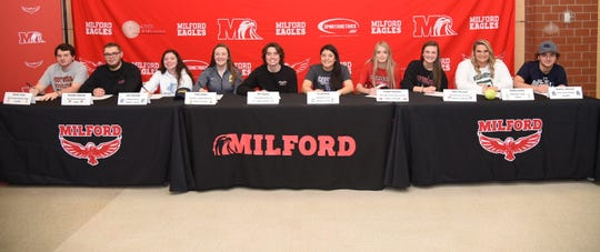 Milford athletes signed their letters of intent to play college sports Feb. 5. They are, from left: Hunter Frank (West Virginia Wesleyan College baseball), Brandon Edwards (Ohio Wesleyan University football), Josi Jennings (Urbana University lacrosse),  Emily Stiles (Mount St. Joseph University lacrosse),  Will Naylor (Transylvania University lacrosse),  Tori Kittrell (Capital University soccer),  Angela Kapitula (University of Cincinnati Clermont volleyball), Abby Thierauf (Ohio Wesleyan University volleyball),  Hillary Huffer (Wilmington College softball) and Hunter Johnson (Olney Central College baseball).