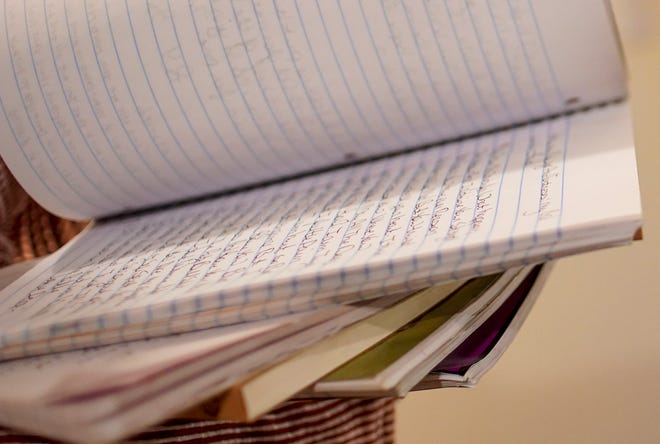 Susan and Bret Fenske page through notebooks of love notes they have left to one another over the past couple of years at their apartment in Clarksville, Tenn., on Tuesday, Feb. 4, 2020.