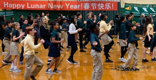 """Middle School students dance to """"The Coolest National Wind"""" in Laidlaw Gym."""