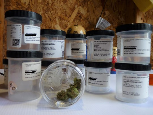 Jars used to contain medicinal marijuana belonging to Brian Powers, a medical marijuana patient who was charged with possession of marijuana in New Brunswick. The charge was later dismissed.