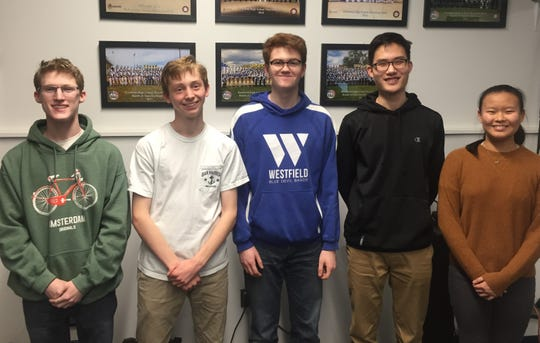 (Left to right): Westfield High School student musicians Max Tennant, Conor Daly, Patrick Gallagher, Alex Cha, and Aprina Wang will perform with the New Jersey Music Educators Association (NJMEA) All-State Band at NJPAC on Saturday, Feb. 22.