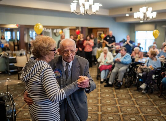 Holocaust survivor Wolf Gruca shares a tango with his daughter in-law Sandy Gruca at American House Troy on Thursday, February 6, 2020 while celebrating his 100th birthday.