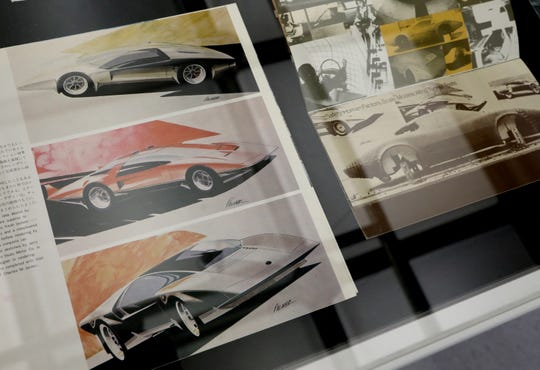 Original magazines with drawings of what Corvettes could have looked like on display at the General Motors Warren Technical Center in Warren, Michigan on Friday, January, 31, 2020