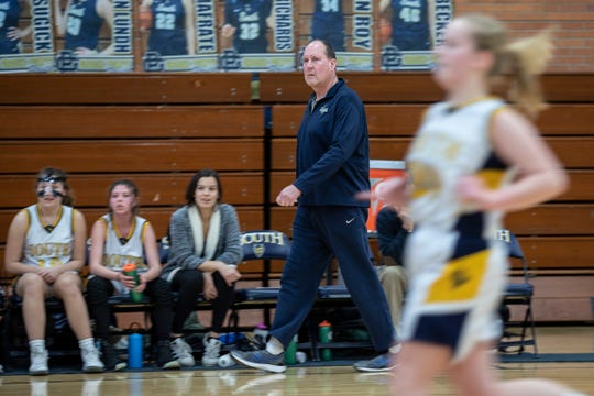 Grosse Pointe South High School girls' freshman coach Bob Zaranek watches on the sideline during a game against Macomb Dakota at Grosse Pointe South High School in Grosse Pointe Farms, Tuesday, Feb. 4, 2020.