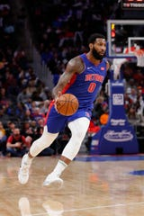 Pistons center Andre Drummond dribbles in the first half against the Suns at Little Caesars Arena on Feb. 5, 2020.