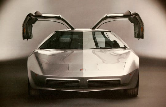A picture of the Aerovette featuring bi-fold gulping doors in the sports car that was never made. It is one of many photographs, drawings and sketches on display on all things Corvette design inside the General Motors Warren Technical Center in Warren, Michigan on Friday, January, 31, 2020