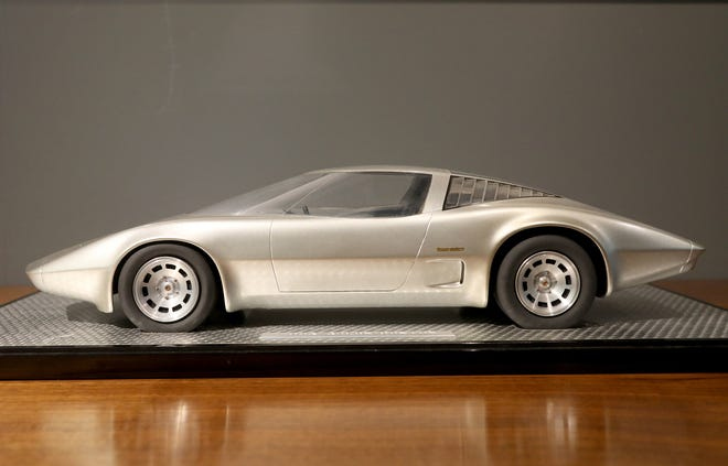 A model of the 1968 Chevrolet mid-engine Corvette Roadster that is one of many items for General Motors workers to see at the Corvette design display at the General Motors Warren Technical Center in Warren, Michigan on Friday, January, 31, 2020
