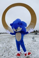 Sonic the Hedgehog visited Sterling Heights golden ring monument on Thursday, Feb. 6, 2020.