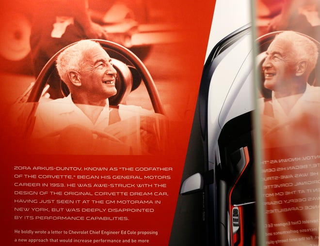 "A display of Zora Arkus-Duntov known as ""The Godfather of  the Corvette"" at the General Motors Warren Technical Center in Warren, Michigan on Friday, January, 31, 2020."