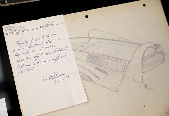 Sketching and notes about the Corvette, one of the many originals on display for workers to see at the General Motors Warren Technical Center in Warren, Michigan on Friday, January, 31, 2020